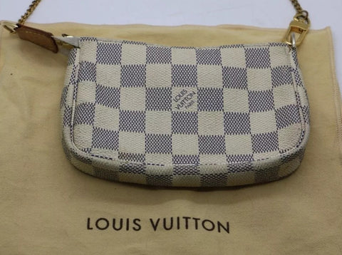 Authentic Used Louis Vuitton Mini Pochette Accessories Bag in Damier Azur with Dustcover