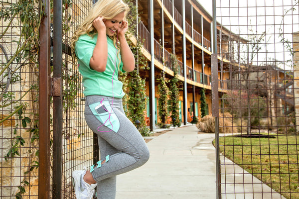 One More Rep Bow Back Leggings in Mint & Grey