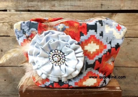 Cute Aztec Cosmetic Bag with Fancy Flower