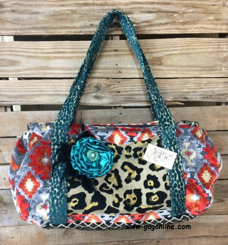 Large Cheetah and Aztec Duffle Bag with Fancy Flower