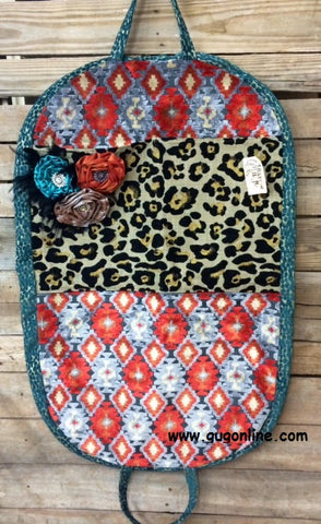 Large Cheetah and Aztec Garment Bag with Fancy Flower