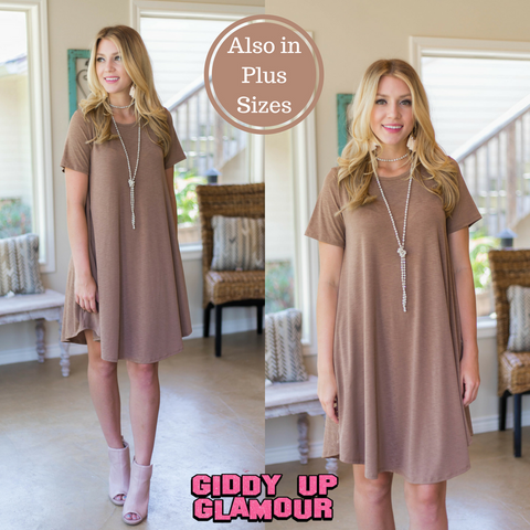 Simplicity is Key Short Sleeve Tee Shirt Dress in Mocha
