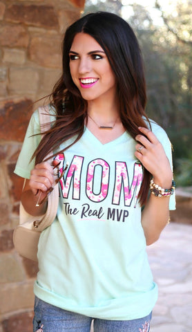 Mom The Real MVP Short Sleeve Tee Shirt in Mint