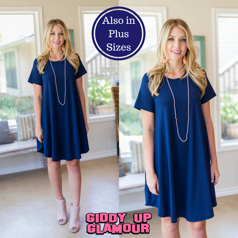 Simplicity is Key Short Sleeve Tee Shirt Dress in Navy Blue