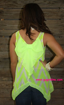 Bowtiful Neon Yellow Chevron Top