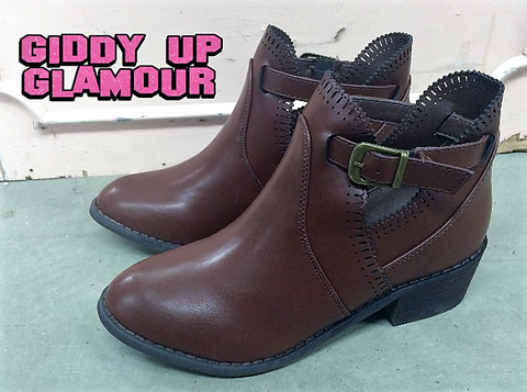 Catalina Buckle Booties in Brown - size 6.5 only