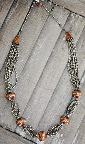 Long Silver Necklace with Copper Bead Necklace