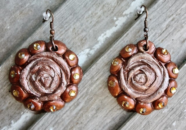 Polymer Clay Earrings Dangle Copper