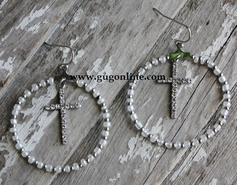Silver and Pearl Hoop Earrings with Crosses