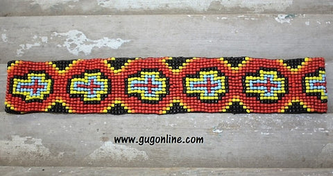 Red and Black Cross Beaded Headband