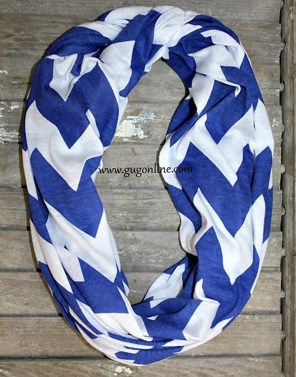 Blue Wide Chevron Infinity Scarf