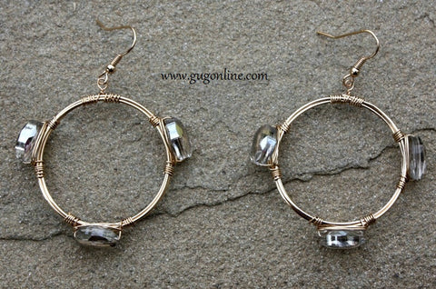 Gold Circle Earrings with Silver Crystals