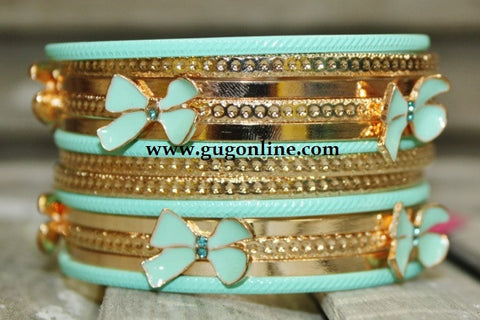 Gold and Mint Bow Bangle Set