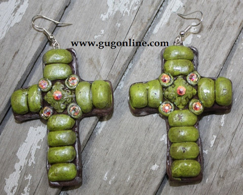 Havana Lime Cross Dangle Earrings