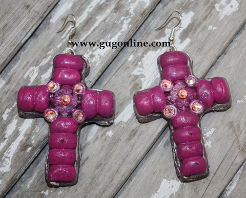 Havana Pink Cross Dangle Earrings
