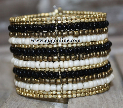 Gold and Black Beaded Cuff