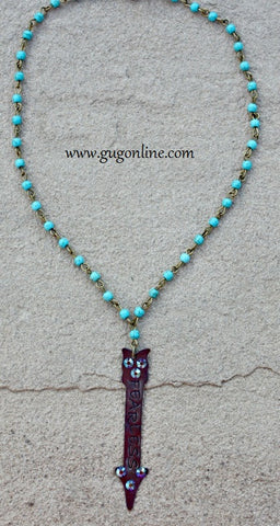 Fearless Crystal Arrow Charm on Turquoise and Bronze Chain Necklace