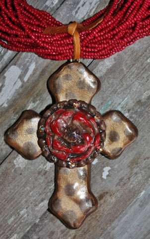 Holy Water with Red Bloom Pendant