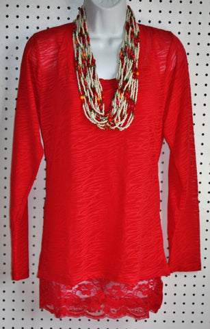 Easy Does it PLUS SIZE Red Burnout