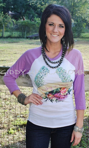 Lucky In Love Lavender Baseball Tee
