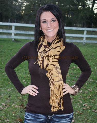 Caramel with Chocolate Zebra Scarf