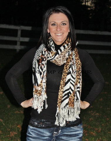 Brown and Black Leopard and Zebra Mix Scarf