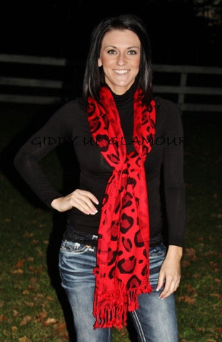 Red Large Leopard Print Scarf