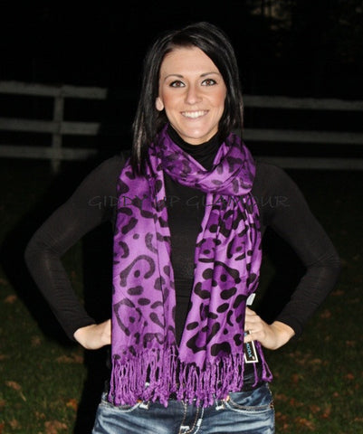 Purple Large Leopard Print Scarf