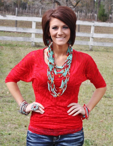 Red Animal Print Simple Tunic