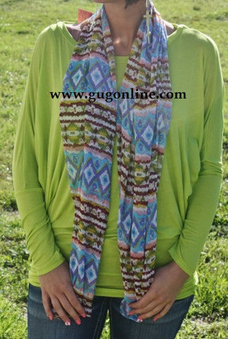 Blue and Green Aztec Spring Scarf