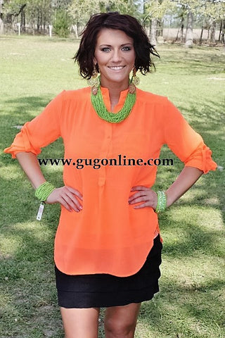 Sheerly Amazing Neon Orange Top