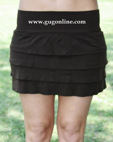 Center of Attention Chocolate Brown Ruffle Skirt