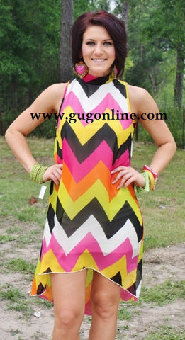 Meet The Parents Yellow Chevron High Low Dress
