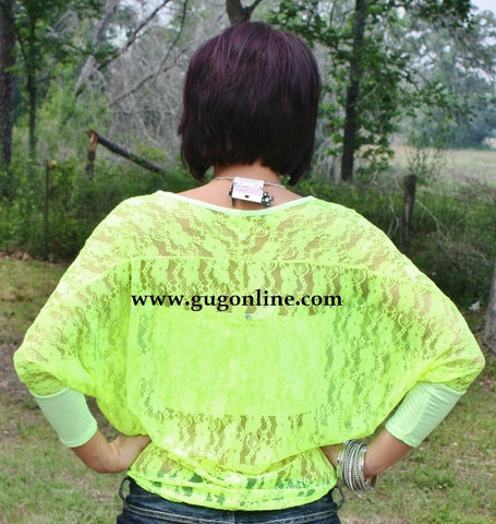 Feel The Breeze Neon Yellow Lace Back Top