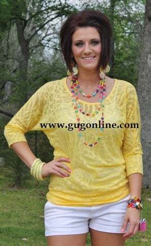 Yellow Animal Print Simple Tunic