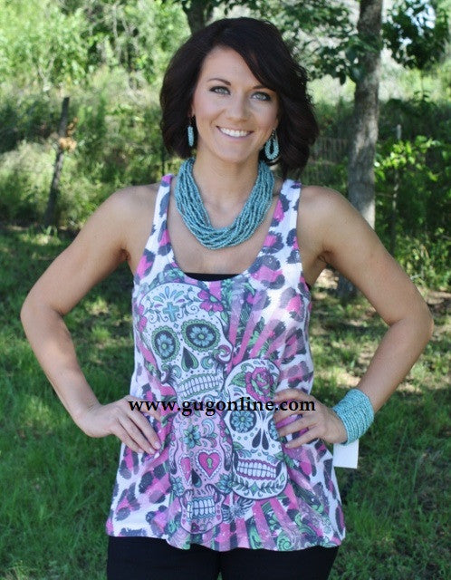 All Over Three Sugar Skull Tank