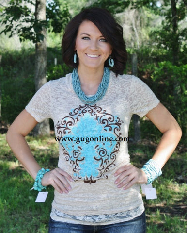Fleur De Lis Tan Short Sleeve Burnout