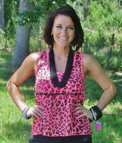 Splashes of Neon Pink Cheetah Tank