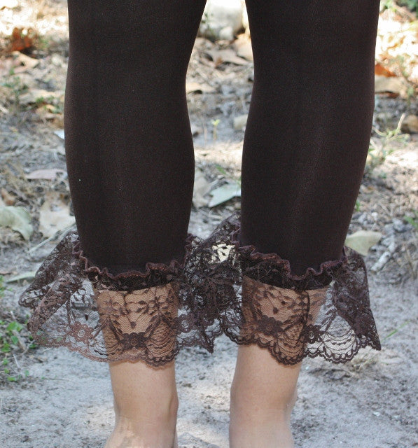 GUG Originals - Chocolate Brown Leggings with Brown Lace Ruffle Bottoms