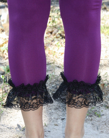 GUG Originals - Leggings with Black Lace Ruffle Bottoms in Assorted Colors