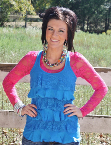 Summertime, And The Livin Is Easy Bright Blue Ruffle Top