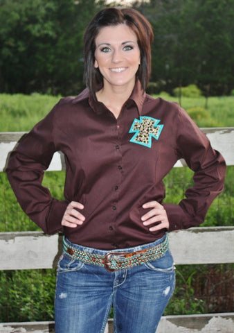 Original Rodeo Queen Brown Button Down