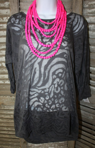 Charcoal Animal Print Simple Tunic
