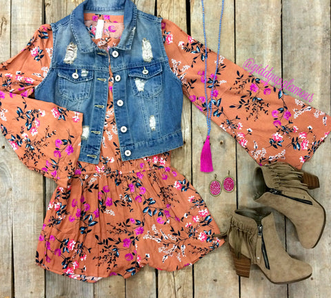 Paradise City Floral Romper in Ginger