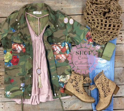Anything But Ordinary Floral Camouflage Military Jacket