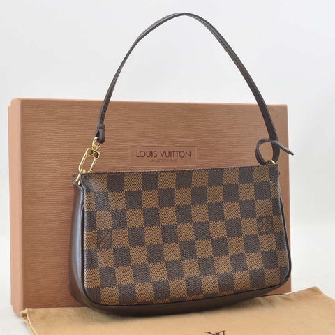 Authentic  Used Louis Vuitton Damier Navona Pochette with Dustcover and Box