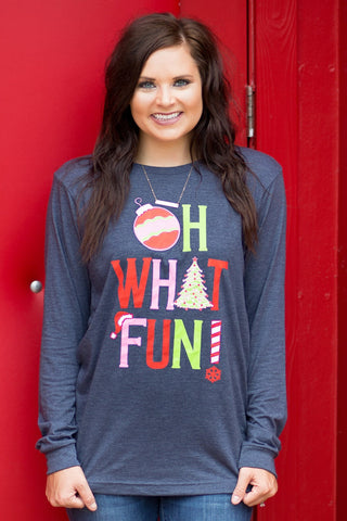 Oh What Fun Navy Long Sleeve Tee Shirt
