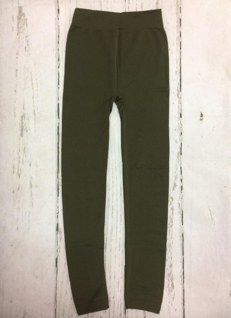 Fleece Lined Leggings in Olive Green