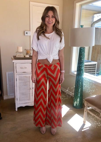Coral and Mocha Chevron Pants
