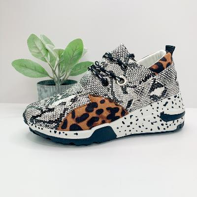Get On Your Level Thick Sole Sneakers in Leopard and Snakeskin